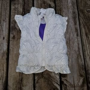 NWT Children's Place silver and white puffer vest